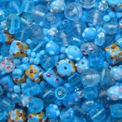 Glaskralenmix. Aqua Fantasie. (mooie kwaliteit ook in 250 gram). 50 gram.