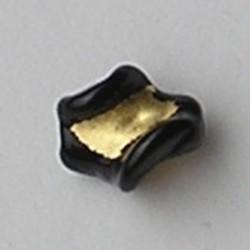Zwarte Handgewikkelde Glaskraal met Goudfolie 13mm. Wokkel.