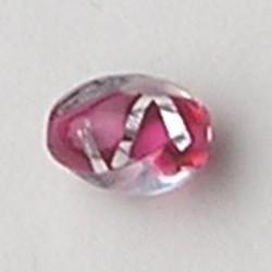 Roze Rood Handgewikkelde Glaskraal 11x14mm. Fantasie Ovaal en Getwist.