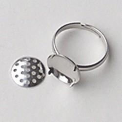 Verstelbare Opwerkring. 18mm. Zilverkleurig. het zeefje is 12mm.