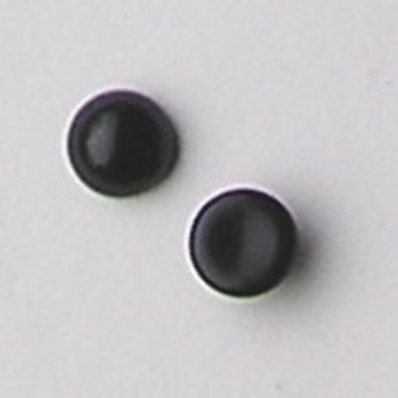 Cabochon 12mm. Zwart Opaque. Glas Rond.