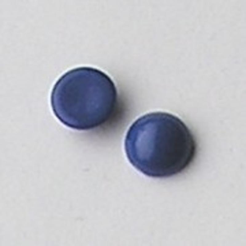 Cabochon 12mm. Jeansblue Opaque. Glas Rond.