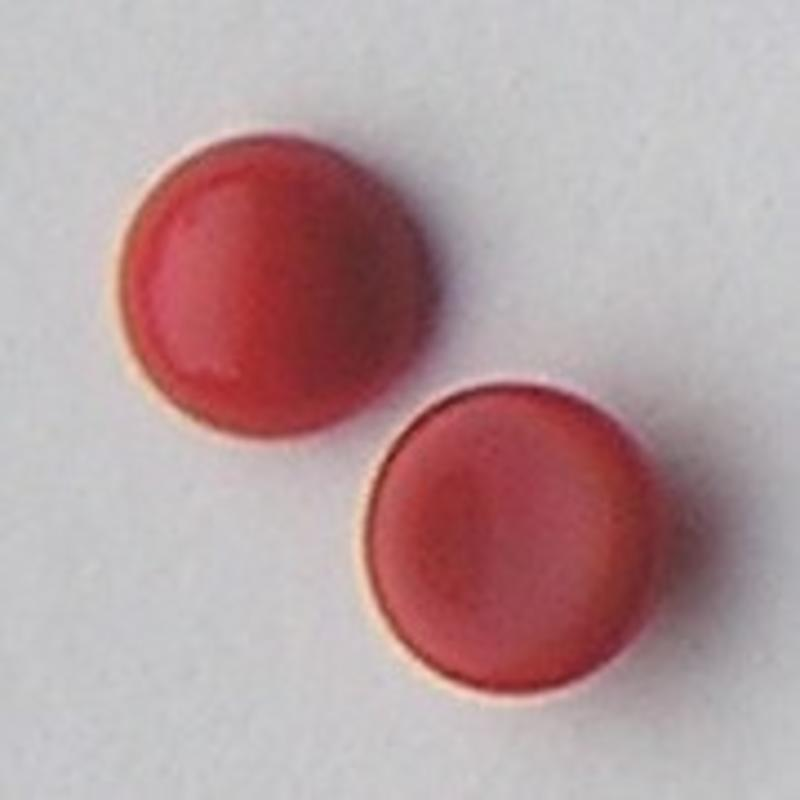 Cabochon 12mm. Coral Opaque. Glas Rond.