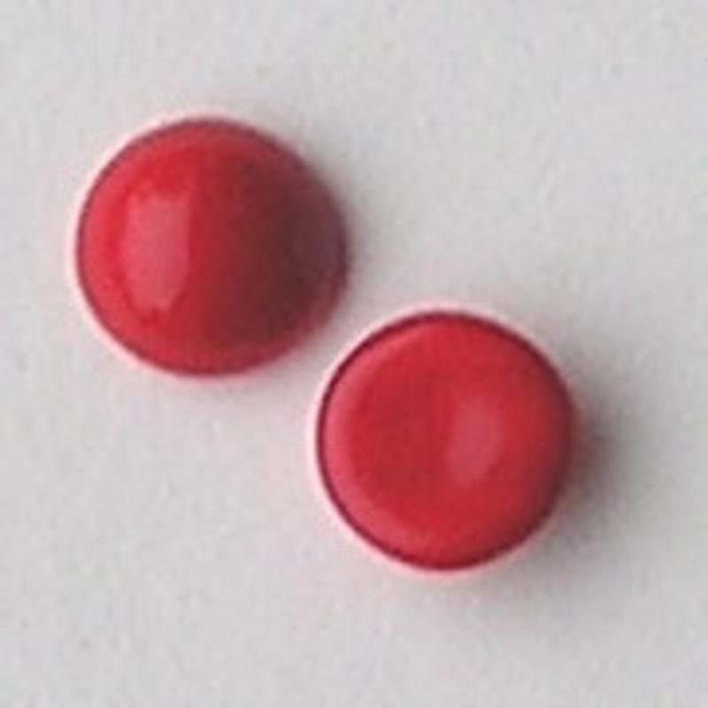 Cabochon. Lichtrood Opaque. Glas. Rond. 12mm.