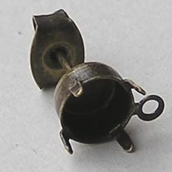 Oorsteker. Bronskleurig met oogje voor Swarovski ss29 steen. excl. achterkant. per stuk