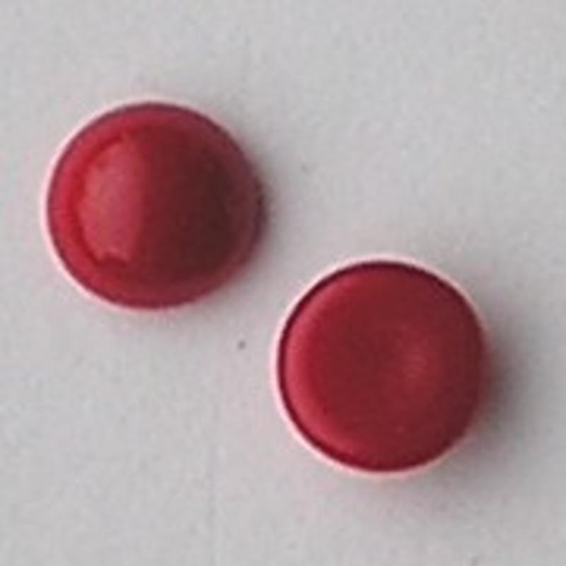 Cabochon 8mm. Rood Opaque. Glas Rond.