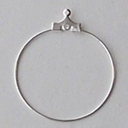 Oorring. Silverplated. Met extra oogje. 32mm.