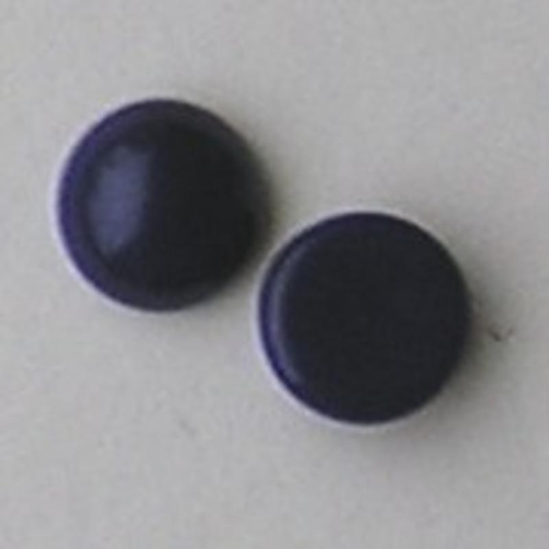 Cabochon 8mm. Dark Blue Opaque. Glas Rond.