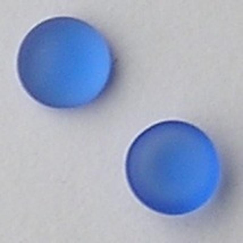 Cabochon 8mm. Blue Matte. Glas Rond.