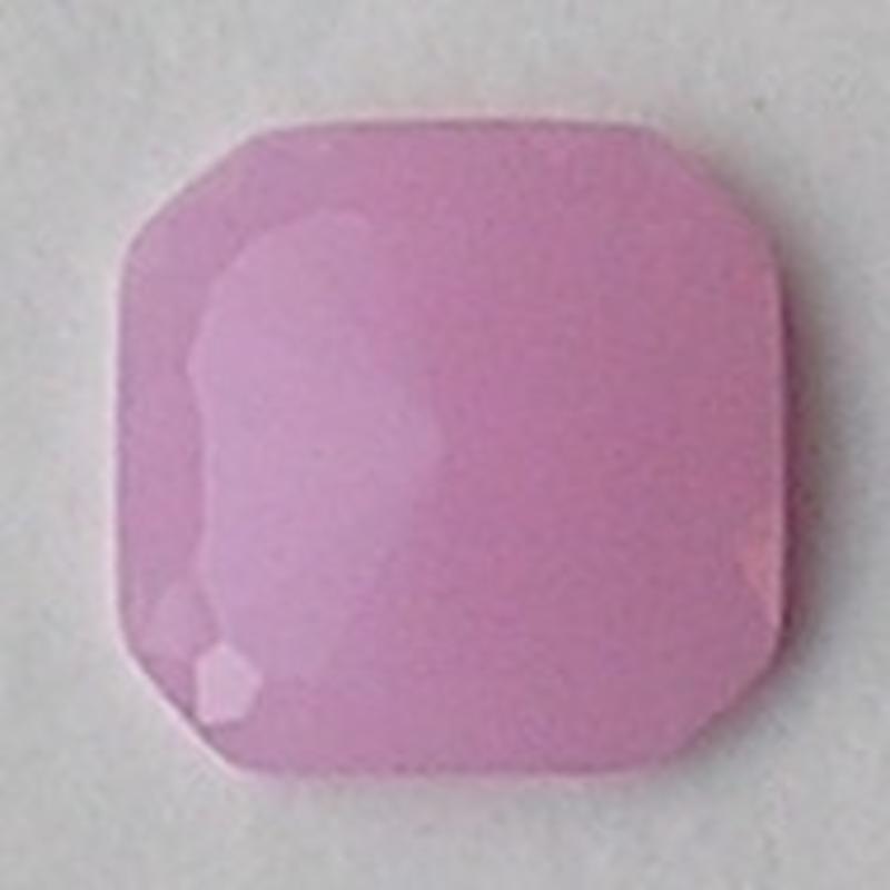 Cabochon. 24x24mm. Roze Opal. Glas. Vierkant.