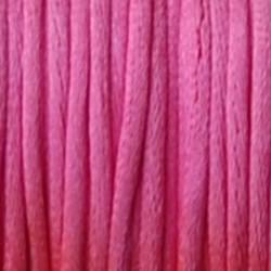 Satijnkoord. Neon Roze. 2mm. 1 meter van de rol voor