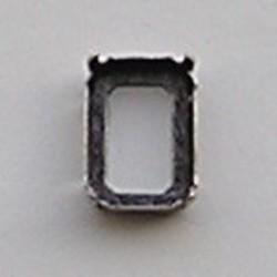 Rijgkastje. Oud zilverkleurig. 13x18mm. rechthoekig 2 Gaats in de Lange Kant.