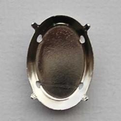 Rijgkastje voor ovale platte plaksteen. Met 2 gaatjes. 18x25mm zilverkleurig