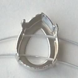 Rijgkastje Druppelvormig. 4 gaats. 13x18mm. Zilverkleurig. Voor Puntsteen glas.