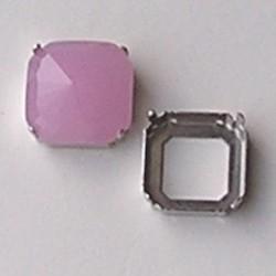 Rijgkastje 2 gaats. Vierkant. 24mm. Zilverkleurig. Voor cabochon 24x24mm. Excl. cabochon.