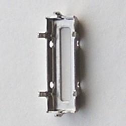 Rijgkastje 2 gaats. Zilverkleurig voor Swarovski baquette 21x7mm. art. 57410