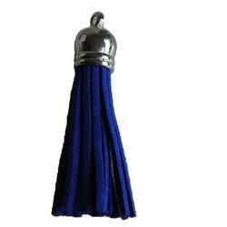 Kwastje met zilverkleurig kapje Kobaltblauw 12x60mm.
