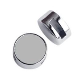 Leerschuif 14mm. met ruimte voor 12mm cabochon geschikt voor plat leer 8mm of Ibizalint Zilverkleurig Glad.