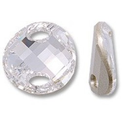 SWAROVSKI ELEMENTS Swarovski Element. Knoop. 18mm. Crystal. Met 2 gaten. Past leerveter door.