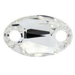 SWAROVSKI ELEMENTS Swarovski Element. Oval. Sew On 12x18mm. Crystal. Met 2 gaten.
