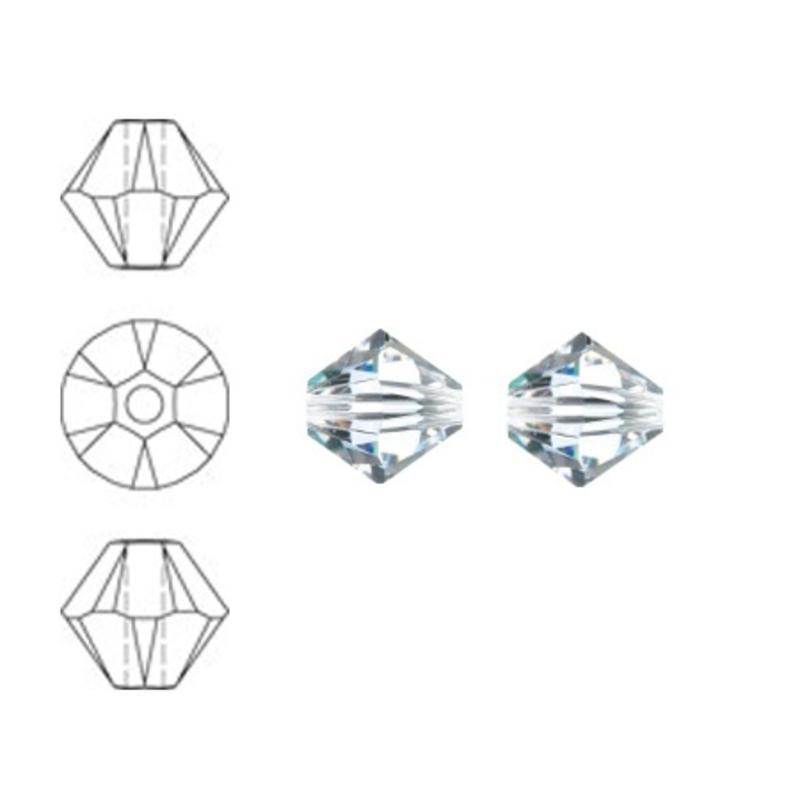 SWAROVSKI ELEMENTS Konisch Geslepen Glaskraal. 4mm. Xilion Bead Crystal.