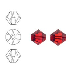 SWAROVSKI ELEMENTS Konisch Geslepen Glaskraal. Xilion Bead Light Siam. 4mm. Per stuk