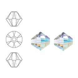 SWAROVSKI ELEMENTS Schrägschnitt-Glasperle. 4mm. Xilion Bead. Crystal AB.