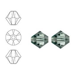 SWAROVSKI ELEMENTS Konisch Geslepen Glaskraal. 4mm. Black Diamond.