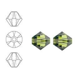 SWAROVSKI ELEMENTS Konisch Geslepen Glaskraal. Olivine. 4mm. Per stuk