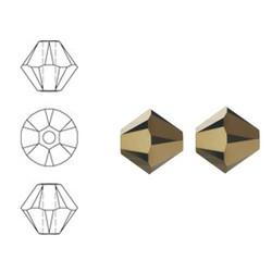 SWAROVSKI ELEMENTS Konisch Geslepen Glaskraal. Crystal Dorado 2x. 4mm.