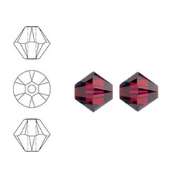 SWAROVSKI ELEMENTS Konisch Geslepen Glaskraal. Ruby. 6mm. Per stuk