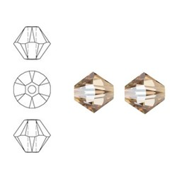 SWAROVSKI ELEMENTS Konisch Geslepen Glaskraal. 6mm. Xilion Bead Crystal Golden Shadow.