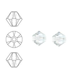 SWAROVSKI ELEMENTS Konisch Geslepen Glaskraal. Crystal Moonlight. 6mm. Per stuk
