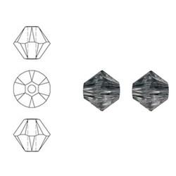 SWAROVSKI ELEMENTS Konisch Geslepen Glaskraal. 6mm. Crystal Silver Night.