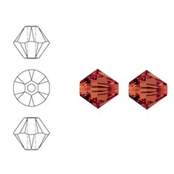 SWAROVSKI ELEMENTS Conically cut glass bead. 6mm. Red Magma