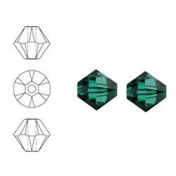 SWAROVSKI ELEMENTS Konisch Geslepen Glaskraal. Emerald Green. 8mm. Per stuk