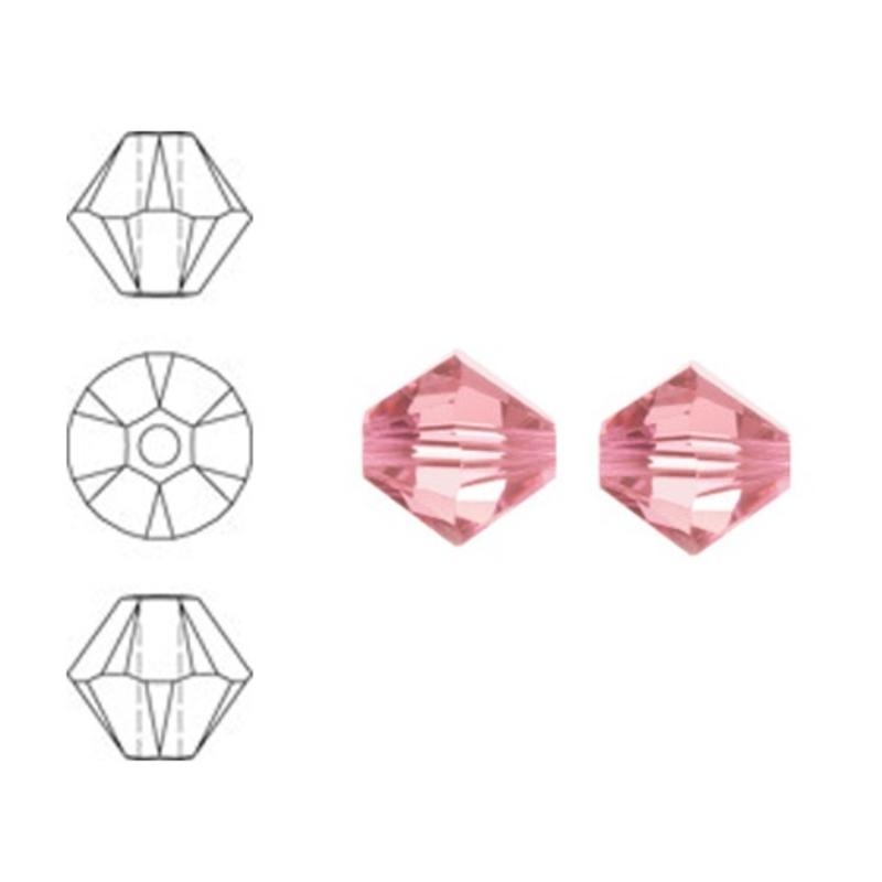 SWAROVSKI ELEMENTS Konisch Geslepen Glaskraal. 8mm. Light Rose