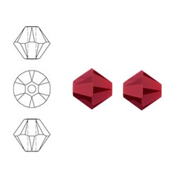 SWAROVSKI ELEMENTS Swarovski Konisch Geslepen Glaskraal. Dark Red Coral 8mm. Per stuk