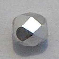 Facet geslepen Glaskraal. Zilver Zijdeglans.6mm. Tsjechisch
