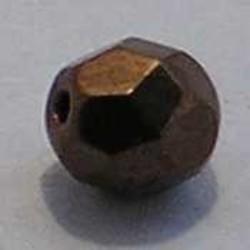 Facet geslepen Glaskraal. Brown Copper. 6mm. Tsjechisch.