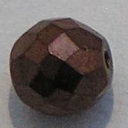 Facet geslepen Glaskraal. Brown Copper. 10mm. Tsjechisch.