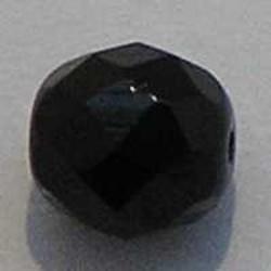 Facet geslepen Glaskraal. Zwart. 10mm. Tsjechisch.