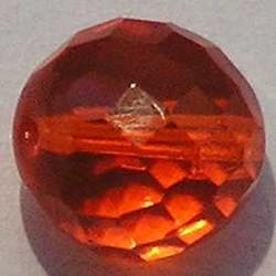 Facet geslepen Glaskraal. Oranje. 12mm. Tsjechisch.