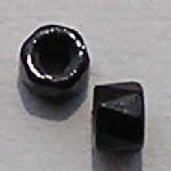 Zwarte Facetkraal. 6mm. Tonnetje. veterkraal