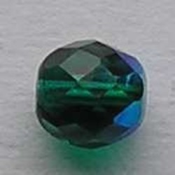 Facet geslepen Glaskraal. Emerald AB. 10mm. Tsjechisch.