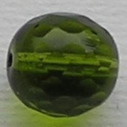Facet geslepen Glaskraal. Olijfgroen. 12mm. Tsjechisch.