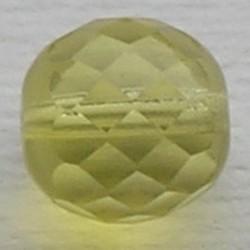 Facet geslepen Glaskraal. Geel Opal. 12mm. Tsjechisch.