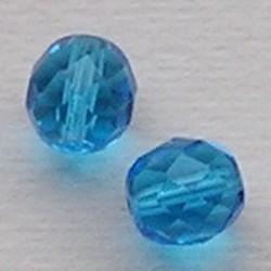 Facet geslepen Glaskraal. Aqua. 12mm. Tsjechisch