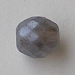 Facet geslepen Glaskraal. Grey Opal Mat. 10mm. Tsjechisch.