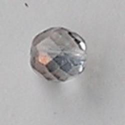 Facet geslepen Glaskraal. Crystal met Copper. 12mm. Tsjechisch.